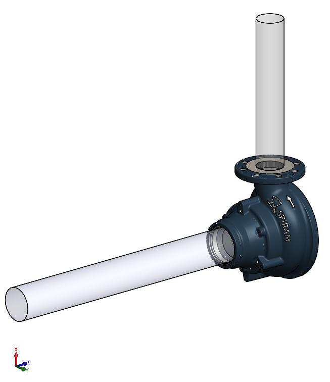 3D hydraulický model s výsledným telom špirály
