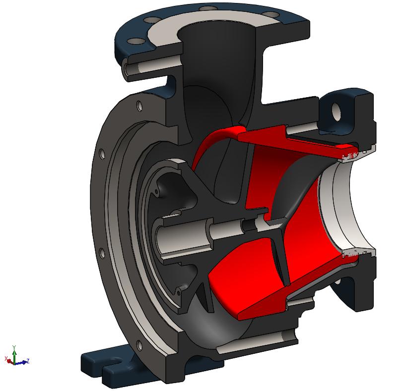 Odliatok predného disku medzi špirálou a obežným kolesom bez obrábaných plôch