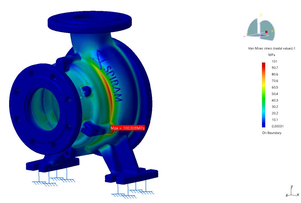 Zaťaženie vnútorným tlakom 2,4 MPa na špirálu 100F s výslednými napätiami.